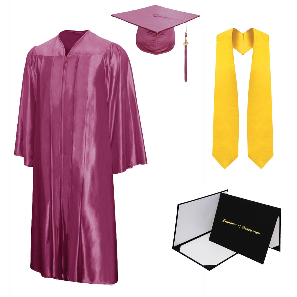 Shiny High School Cap, Gown, Tassel, Stole, Diploma Cover Package
