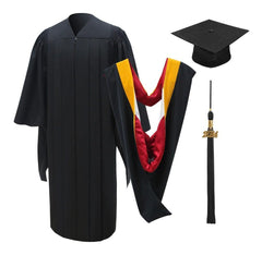 Deluxe Masters Graduation Cap, Gown, Tassel & Hood Package - Graduation Cap and Gown