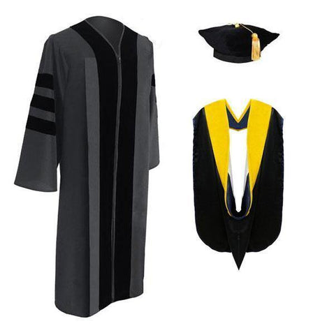 Classic Doctoral Graduation Tam, Gown & Hood Package - Graduation Cap and Gown