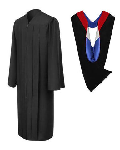 Matte Black Bachelors Gown & Hood Package - Graduation Cap and Gown