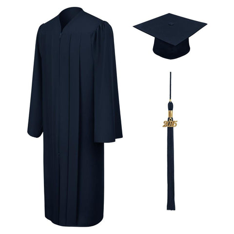 Matte Navy Blue High School Graduation Cap and Gown - Graduation Cap and Gown