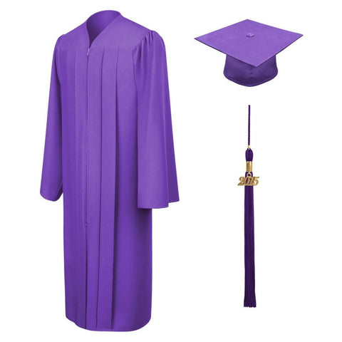 Matte Purple High School Graduation Cap and Gown - Graduation Cap and Gown