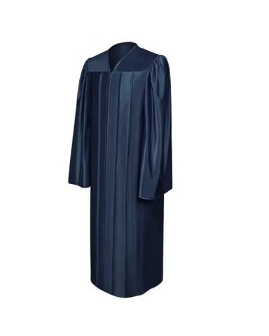 Shiny Navy Blue Bachelors Graduation Gown - College & University - Graduation Cap and Gown