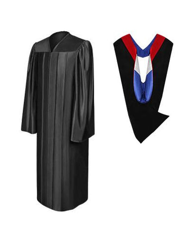 Shiny Black Bachelors Gown & Hood Package - Graduation Cap and Gown