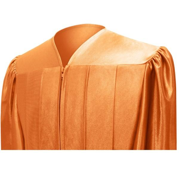 Shiny Orange High School Graduation Cap and Gown - Graduation Cap and Gown