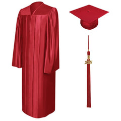 Shiny Red High School Graduation Cap & Gown - Graduation Cap and Gown