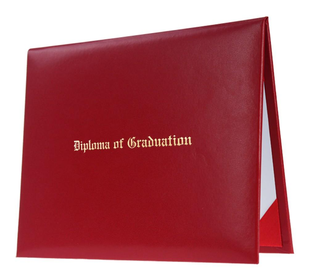 Red Imprinted Diploma Cover - High School Diploma Covers - Graduation Cap and Gown