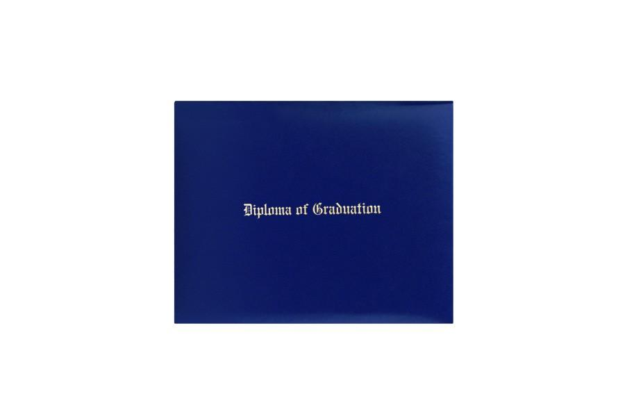 Royal Blue Imprinted Diploma Cover - High School Diploma Cover - Graduation Cap and Gown
