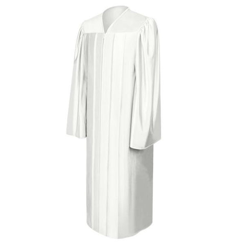 Shiny White High School Graduation Gown - Graduation Cap and Gown