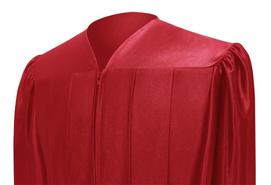 Shiny Red High School Graduation Gown - Graduation Cap and Gown