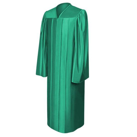 Shiny Emerald Green High School Graduation Gown - Graduation Cap and Gown