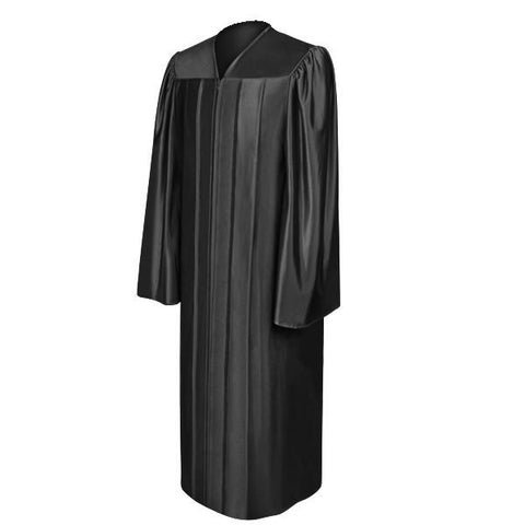 Shiny Black High School Graduation Gown - Graduation Cap and Gown
