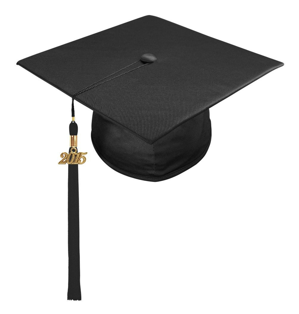Shiny Black High School Cap & Tassel - Graduation Caps - Graduation Cap and Gown
