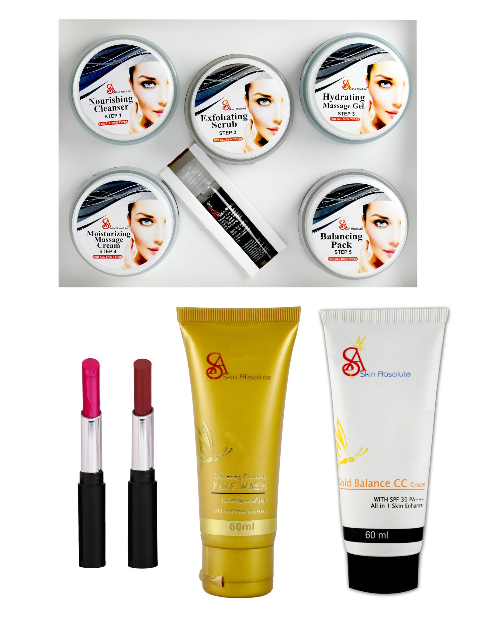 Platinum Facial Kit (250+10)g with Face wash (60 ml) + 2 Lipsticks + CC cream (Set of 5) - Worldshopon.com