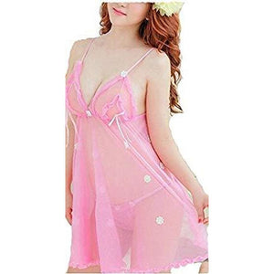 Polyester and Net Babydoll Nightwear Night Dress - Worldshopon.com