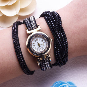 Fashion Women Rhinestones Faux Leather Braid Analog Quartz Bracelet Wrist Watch - Worldshopon.com