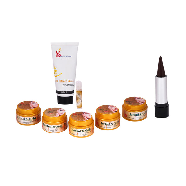 SKIN ABSOLUTE Ready to Party Combo of Herbal & Gold Facial Kit, Herbal Kajal, CC Cream - worldshopon-com