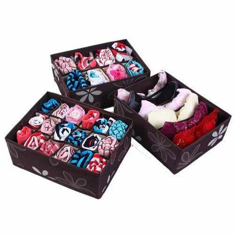 3 PCS INNERWEAR ORGANISER SET WITH COVER (ASSORTED) - worldshopon-com