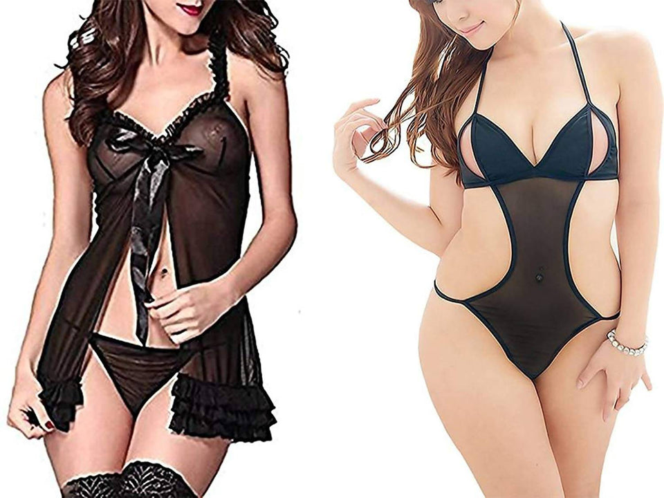 Women's Black Babydoll Nightwear Night Dress (Combo of 2) - Worldshopon.com