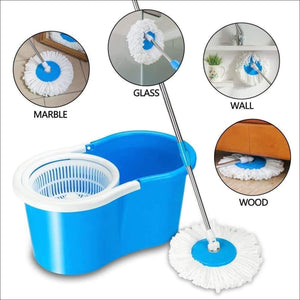 360 Degree Spin Bucket Mop with 2 Refills- Super Absorbent Refills for All Type of Floors, 360 Degree Spin Bucket, 180 Degree Bendable Handle, for Perfect Cleaning (Assorted Colour)) - Worldshopon.com