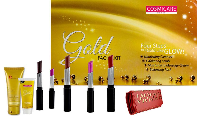 Cosmicare Paris Gold Facial Kit with 5 Lip Shades, Diamond Face wash - Worldshopon.com