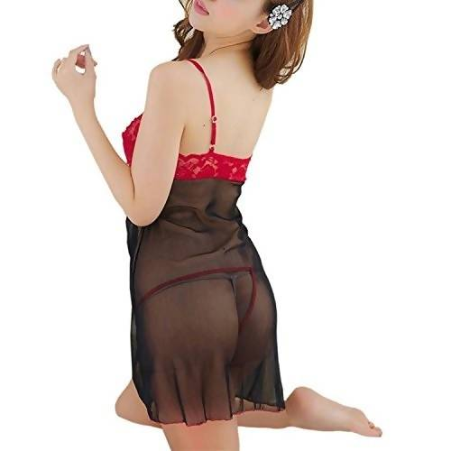 Women's Polyester and Net Babydoll Nightwear Dress  - Worldshopon.com
