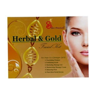 Skin Absolute Perfect Home Facial Kit - Herbal & Gold Facial Kit (250gm+10 ml), 6-IN-1 Beauty Massager, Set of 2 Cosmetic Pouch - Worldshopon.com