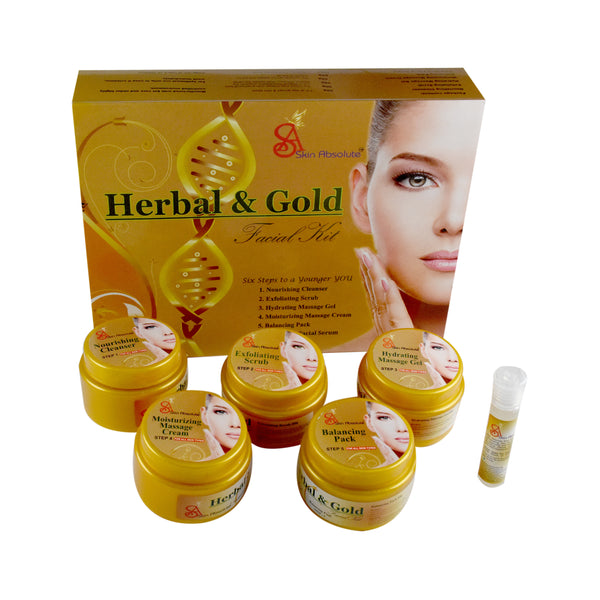 Skin Absolute Gold Rush - Skin Absolute Herbal Gold Facial Kit (250+10)g Skin Absolute 4 Pcs Makeup Kit - Brown Herbal Kajal, Eye Shadow, Blusher,CC Cream  & Party Clutch - worldshopon-com