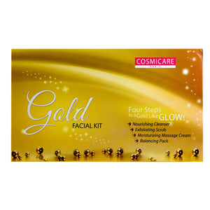 Cosmicare 4 Step Gold Facial Kit - Cleanser,Scrub,Massage Cream & Face Pack - Worldshopon.com