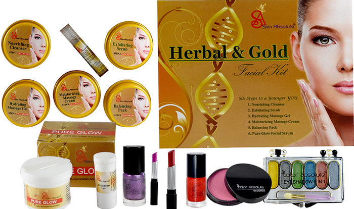 Sparkle Gold like Skin with Skin Absolute Herbal & Gold Facial kit with Makeup - Worldshopon.com