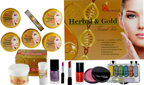 Sparkle Gold like Skin with Skin Absolute Herbal & Gold Facial kit with Makeup - worldshopon-com