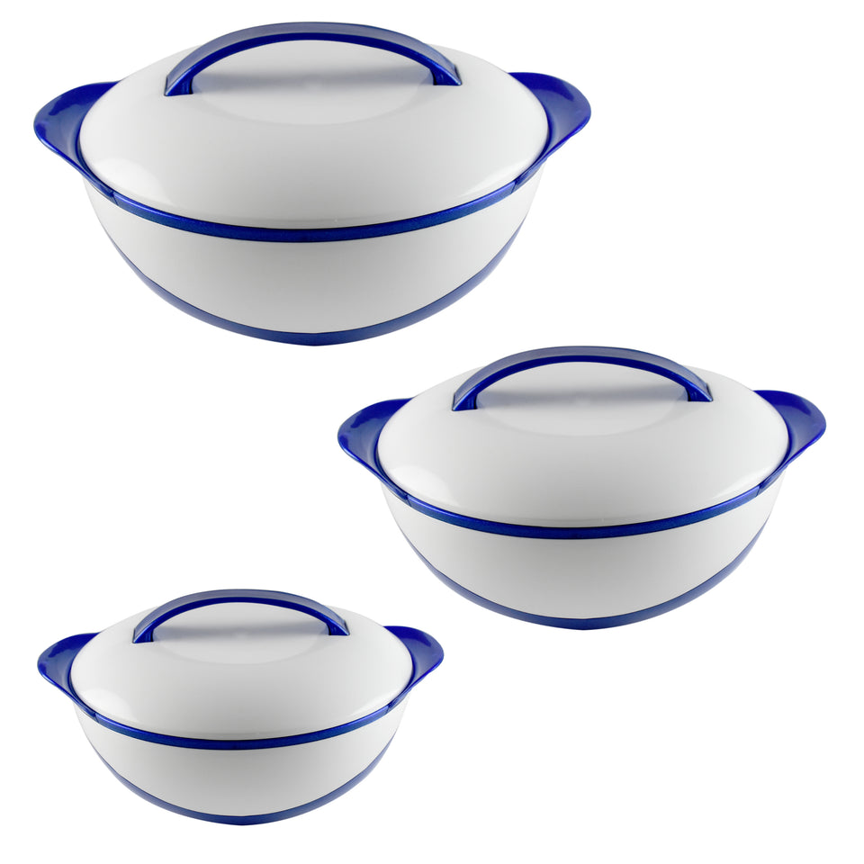 Ideal Home Hot Fall Insulated Casserole with S/S inside Set of 3 Pieces - Blue - Worldshopon.com