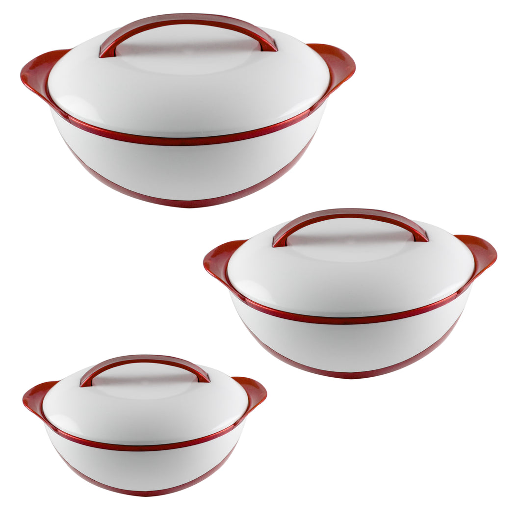 Ideal Home Hot Fall Insulated Casserole with S/S inside Set of 3 Pieces - Red - Worldshopon.com