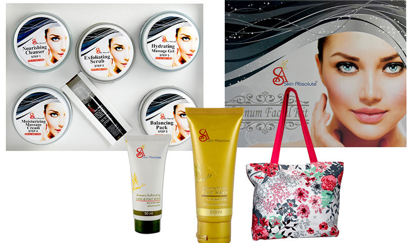 Skin Absolute Platinum Facial Kit with CC Cream, Face Wash with Free Shopping Bag - worldshopon-com