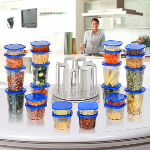 49 pieces Spin & Store Storage Containers with Carousel Rack - Air Tight Food Storage Containers - Worldshopon.com
