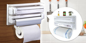 Triple Paper Dispenser-  3 in 1 Kitchen Tissue Paper Roll, Aluminium Foil & Cling Wrap Holder - worldshopon-com