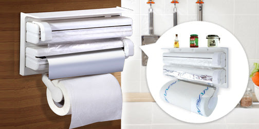 Triple Paper Dispenser-  3 in 1 Kitchen Tissue Paper Roll, Aluminium Foil & Cling Wrap Holder - Worldshopon.com