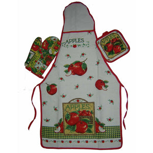 Ideal Home Cotton Printed Kitchen Co-Ordinate Set  of APRON, GLOVE & MAT (Pack of 3 pcs) - Worldshopon.com