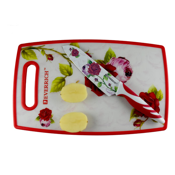 Ideal Home 5 Pcs Designer Stainless Steel Knife Set (3 Knives + 1 Peeler + 1 Cutting Board) - Worldshopon.com