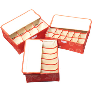 Ideal Home Drawer/Wardrobe Fabric Organiser for Innerwear, Clothing, Tie -Set of 3 - Worldshopon.com
