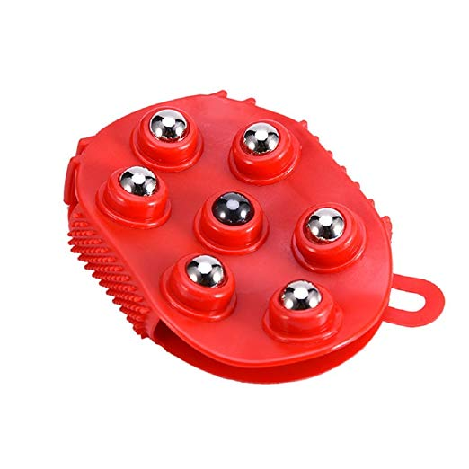 Palm Shaped Massage Glove Body Massager with 7 360-degree-roller Metal Roller Ball - worldshopon-com