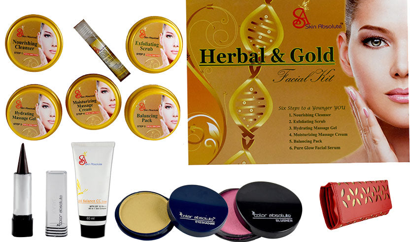 Skin Absolute Herbal Gold Facial Kit with 4 Essential Makeup Articles & Free Clutch - Worldshopon.com