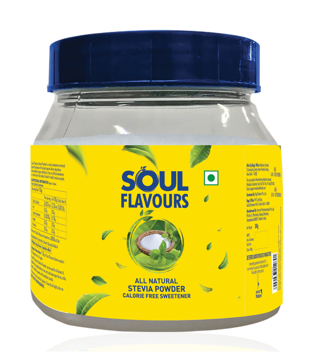 SOUL FLAVOURS ALL NATURAL STEVIA POWDER (200 G)