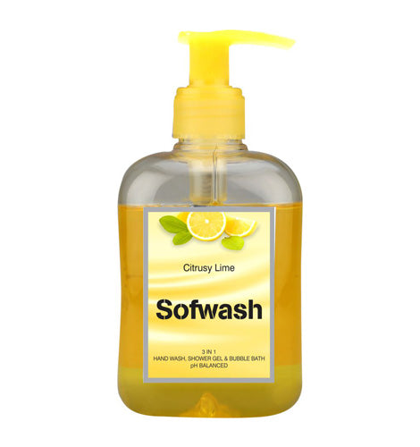 SOFWASH 3 IN 1 HAND WASH, SHOWER GEL & BUBBLE BATH - CITRUSY LIME (250 ML)-Pack of 3