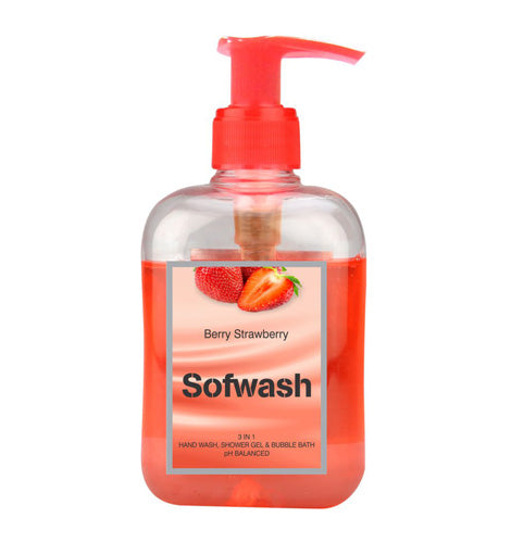 SOFWASH 3 IN 1 HAND WASH, SHOWER GEL & BUBBLE BATH - BERRY STRAWBERRY (250 ML)-Pack of 3