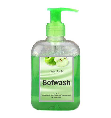 SOFWASH 3 IN 1 HAND WASH, SHOWER GEL & BUBBLE BATH - GREEN APPLE (250 ML)--Pack of 3