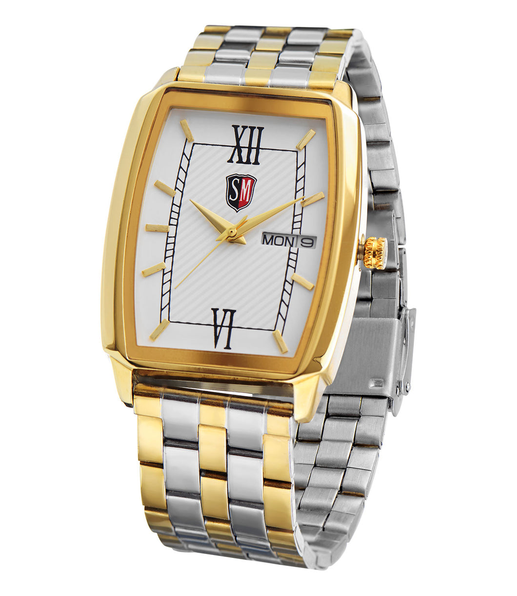 SM MEN'S (DAY & DATE) SQUARE TWO TONE GOLD WATCH