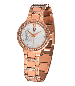 SM LADIES DESIGNER ROSE GOLD WITH STONE EMBEDDED BEZEL WATCH