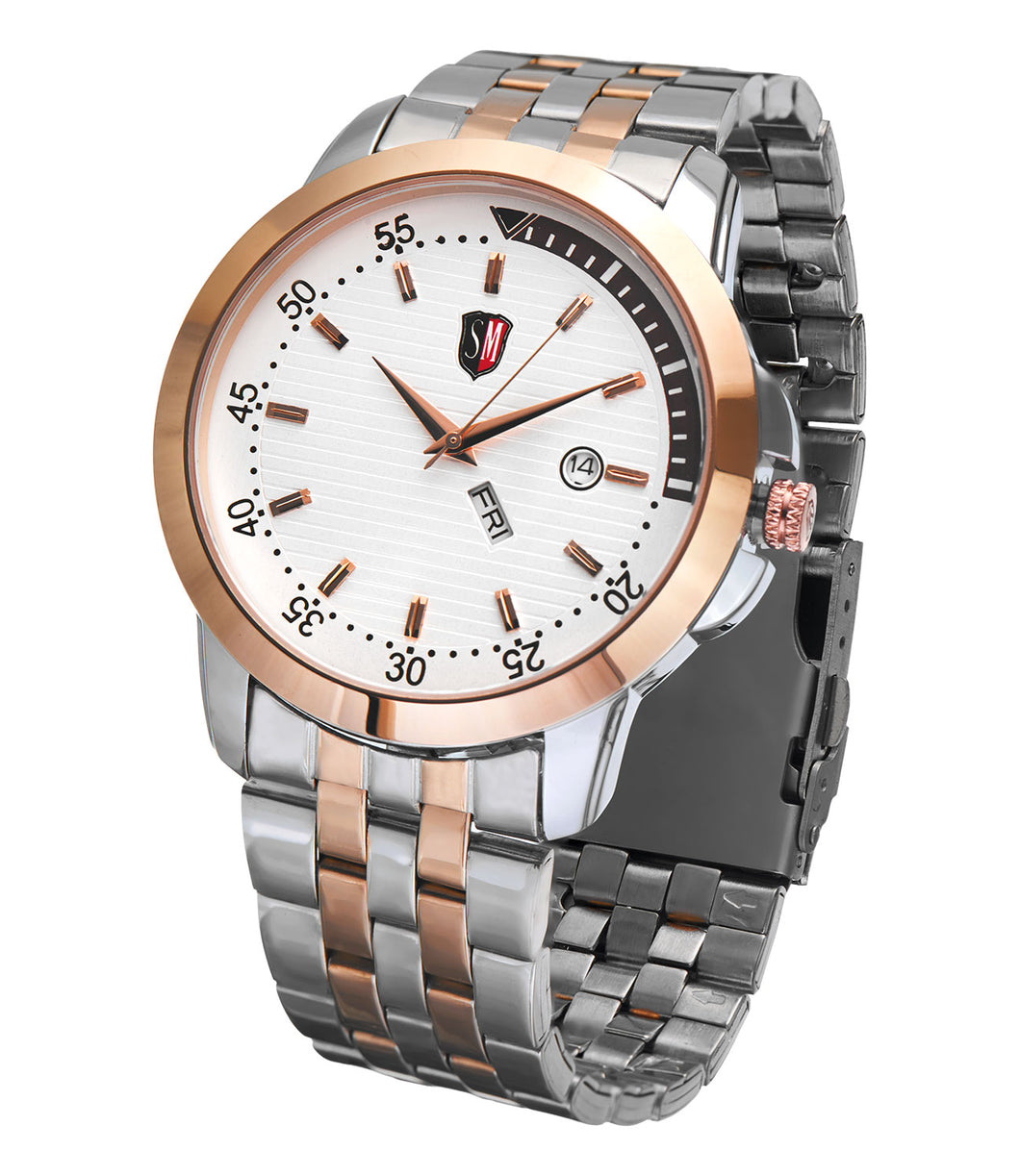 SM MEN'S DESIGNER (DAY & DATE) TWO TONE ROSE GOLD WATCH