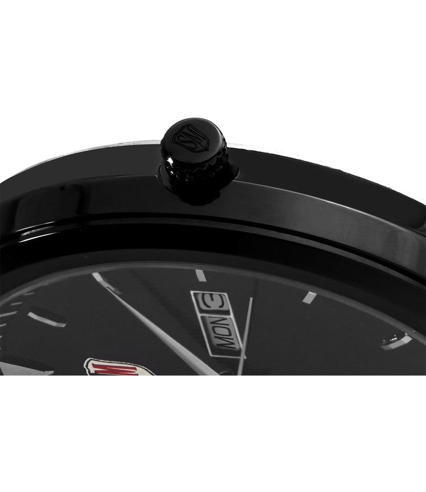 SM MEN'S (DAY & DATE ) BLACK DIAL LEATHER STRAP WATCH